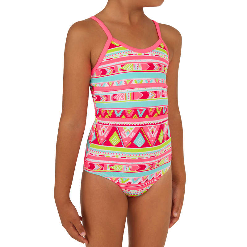 GIRL'S SWIMSUITS Surf - Haloa Girls' 1P - Geo Pink OLAIAN - Surf Clothing
