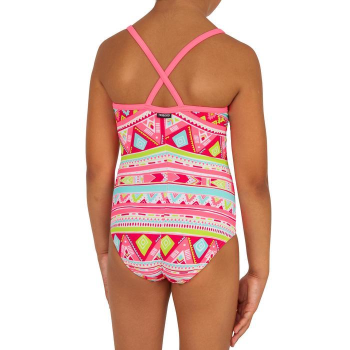 Meisjesbadpak met gekruiste bandjes op de rug Haloa Geo roze