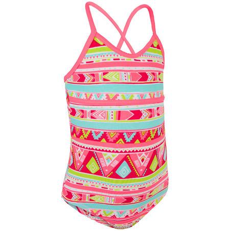 Haloa Girls' One-Piece Cross Back Swimsuit - Geo Pink