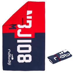 印花微纖維毛巾,L號 - 紅色/藍色