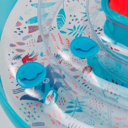 Zwemband met zitje voor peuters 7-15 kg transparant luiaardprint en handvatten