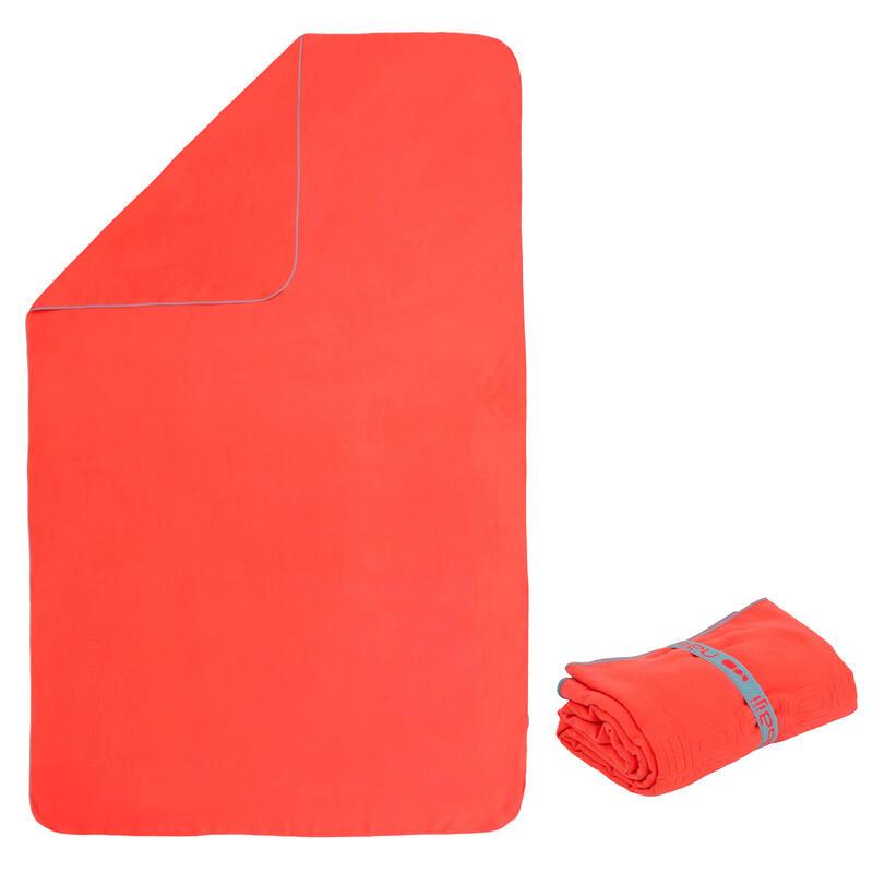 Microvezel handdoek oranje maat L 80 x 130 cm