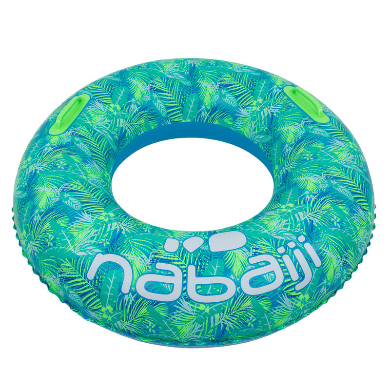 Large 92 cm inflatable printed pool ring with comfort grips