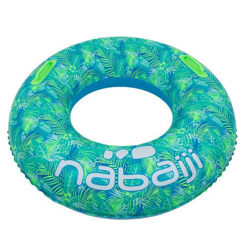 bouée piscine gonflable bleu grande taille avec poignées confort 92cm