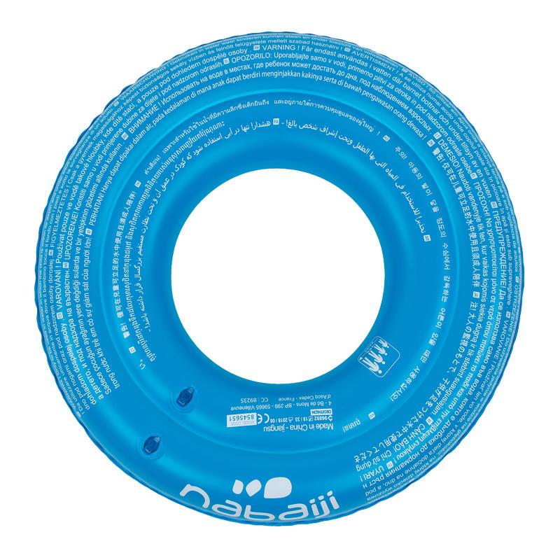 Blue kids' inflatable printed swim ring 6-9 Years 65 cm