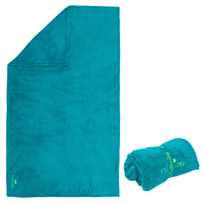Zeer zachte microvezelhanddoek maat L 80 x 130 cm blauw