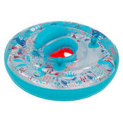 Baby's inflatable pool ring, seat and handles for infants 7- 15 kg transparent