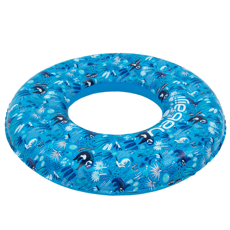 Blue kids' inflatable printed swim ring 6-9 Years 65 cm