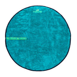 Serviette de bain pieds bi face en microfibre douce bleu diamètre 60 cm