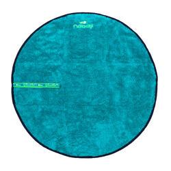 Toalha de pés de natação dois lados microfibra suave azul diâmetro 60 cm
