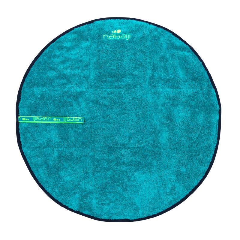 Zachte microvezel handdoek voor de voeten dubbellaags diameter 60 cm blauw
