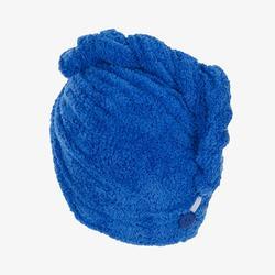 Zachte microvezelhanddoek voor het haar blauw