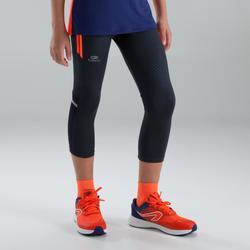 Kiprun children's athletics cropped pants grey red