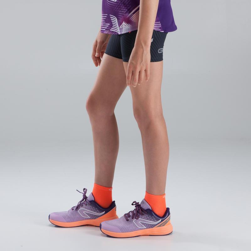 Girl's athletics briefs black neon orange