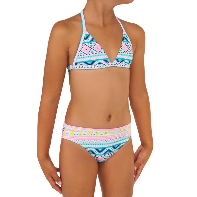 Tina Vaiana Girls' Two-Piece Surfing Triangle Bikini Swimsuit - Blue