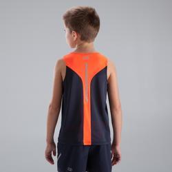 Camiseta de atletismo sin mangas niño estampado gris naranja fluo