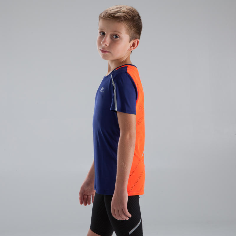 Kiprun children's athletics T-shirt neon blue red