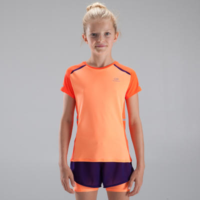 Дівчача легкоатлетична футболка Kiprun - Коралова/Червона