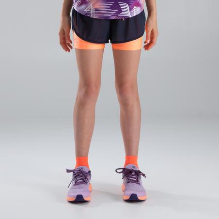 Celana pendek atletik anak perempuan kiprun abu-abu gelap neon jingga coral