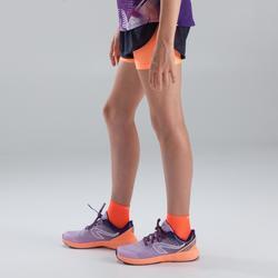 Kiprun girl's athletics shorts dark grey orange neon coral