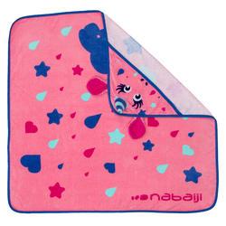 嬰幼兒連帽毛巾粉紅獨角獸印花