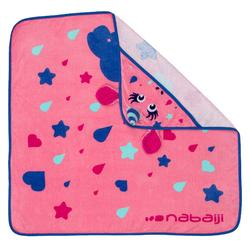 Baby towel with hood pink unicorn print