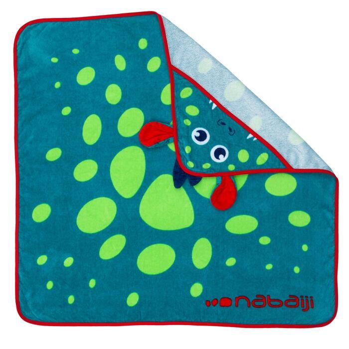 Toalla Bebé Baño Piscina Nabaiji Estampado Dragón Azul Verde Con Capucha