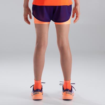 Дівчачі шорти Kiprun для легкої атлетики - Фіолетові/Коралові.