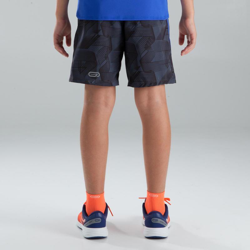 Children's baggy athletics shorts dark grey blue