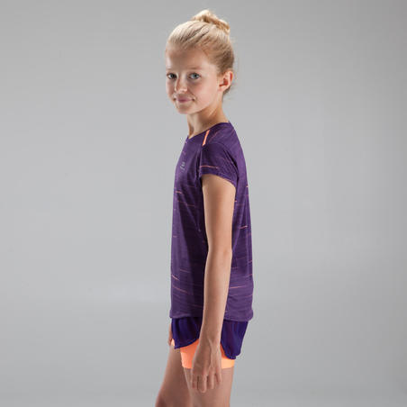 Kaus atletik anak perempuan RUN DRY+ ungu