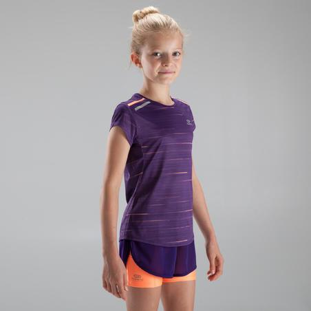 RUN DRY + Girl's athletics T-shirt purple