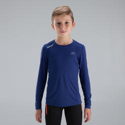 Sun Protect children's athletics long-sleeved T-shirt dark blue