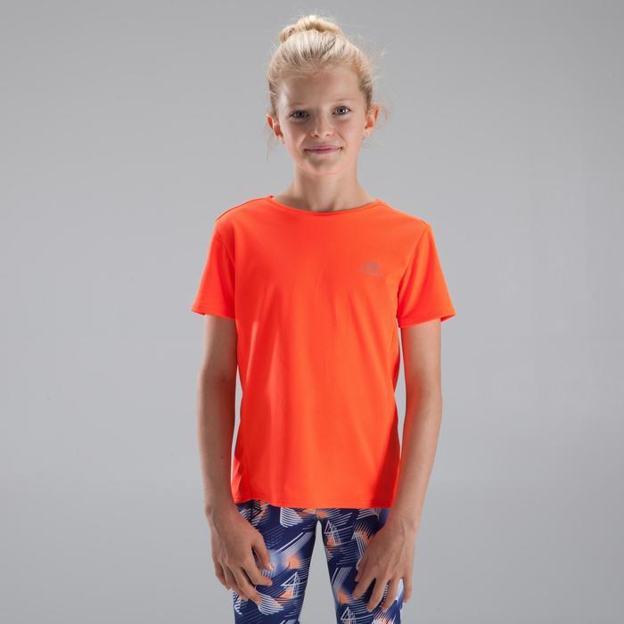 Tee Shirt Athlétisme run dry enfant rouge fluo