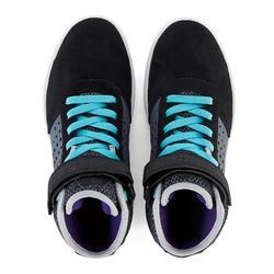 Zapatillas caña alta skateboard junior CRUSH 520 negro y violeta