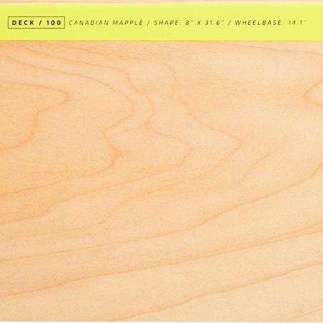 "8"" Skateboard Deck 100 - Wood/Yellow"