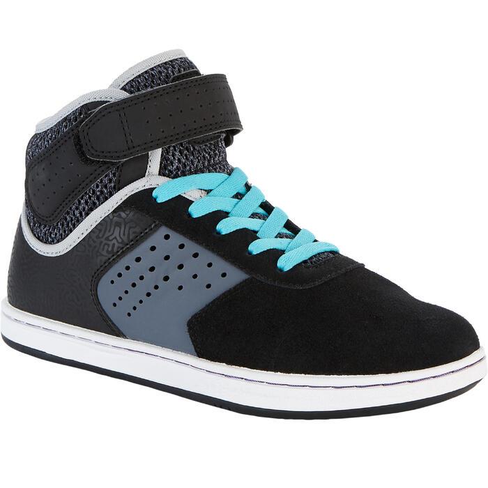 Chaussures montantes de skateboard pour enfant CRUSH 520 noire et violet