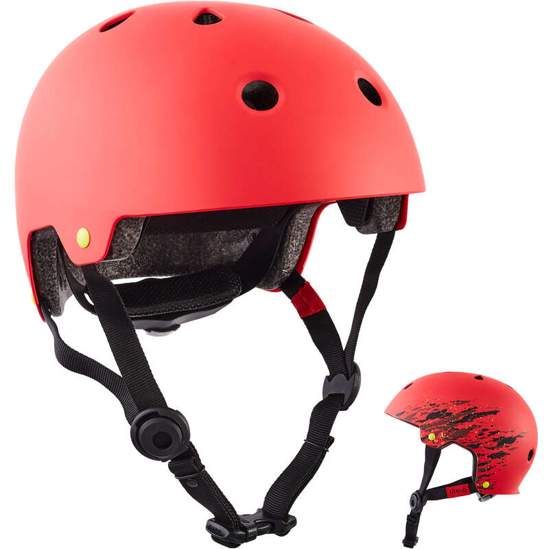 HELMET INLINE SKATE/SKATE/SCOOTER Skateboarding and Longboarding - Helmet Play 7 - Red OXELO - Skateboarding and Longboarding