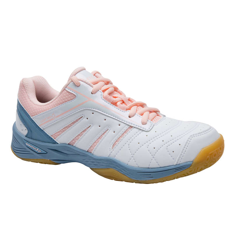 WOMEN'S INTERMEDIATE BADMINTON SHOES Indoor Hockey - BS 560 Women Lite Indoor Court Shoes - White/Pink  PERFLY - Indoor Hockey