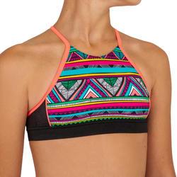 Bikinitop met gekruiste bandjes op de rug voor surfen Baha Naimi