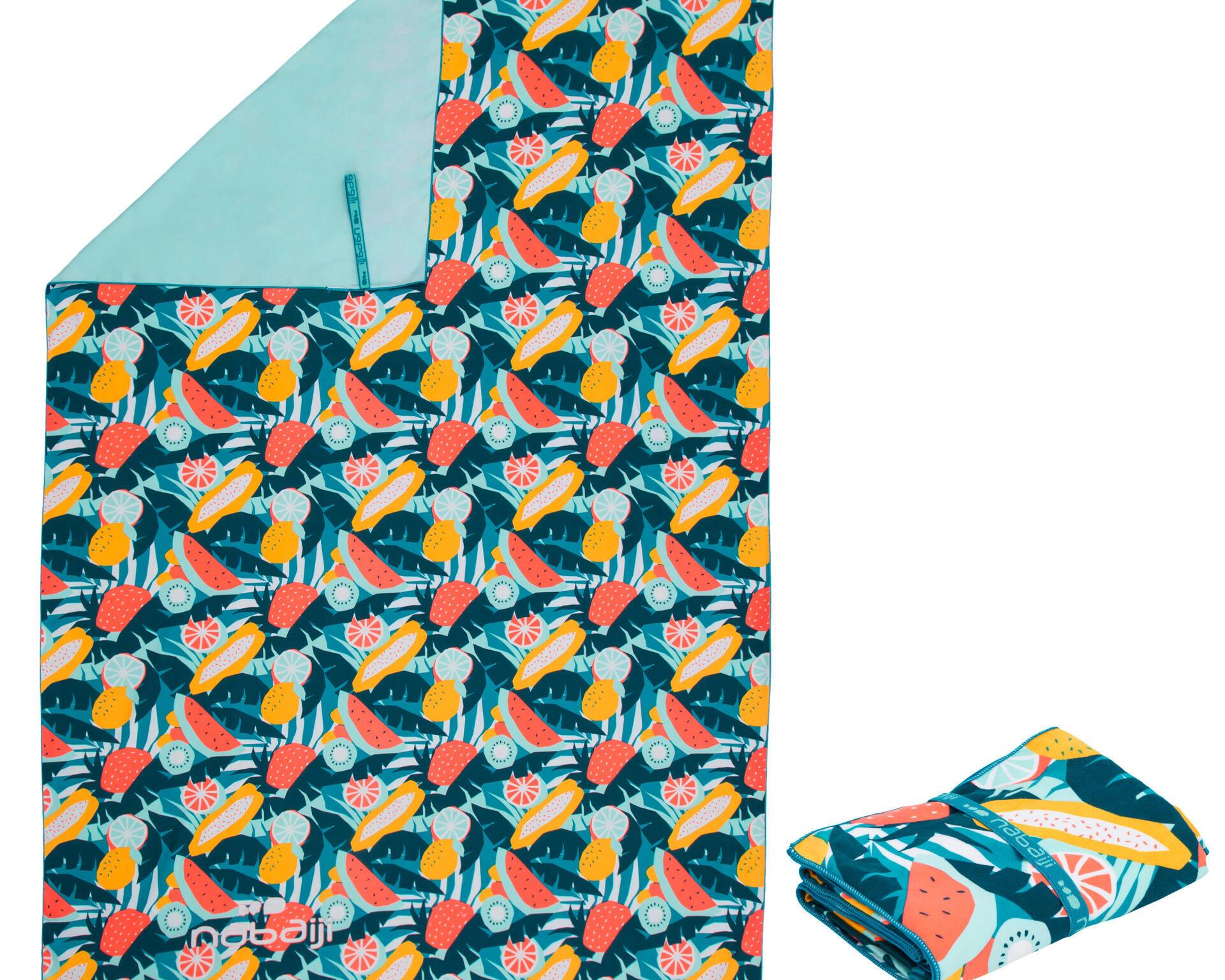 PRINTED MICROFIBRE TOWEL WITH PRESS STUDS, SIZE L 80 X 130 CM