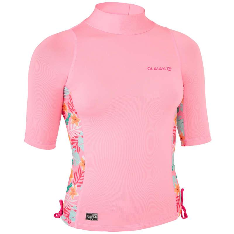 Солнцезащитная одежда для детей Серфинг, Вейкбординг - Футболка для девочек 500S  OLAIAN - Одежда, обувь