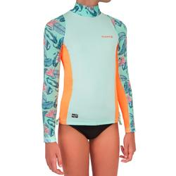 500 Girls' Long Sleeve UV-Protection Surfing Top T-Shirt - Mint