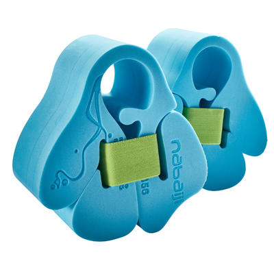 Foam swimming armbands with elasticated strap for children from 15-30 kg - blue