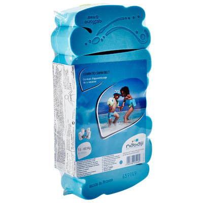 Swim belt for children weighing 15-60 kg with blue foam floats