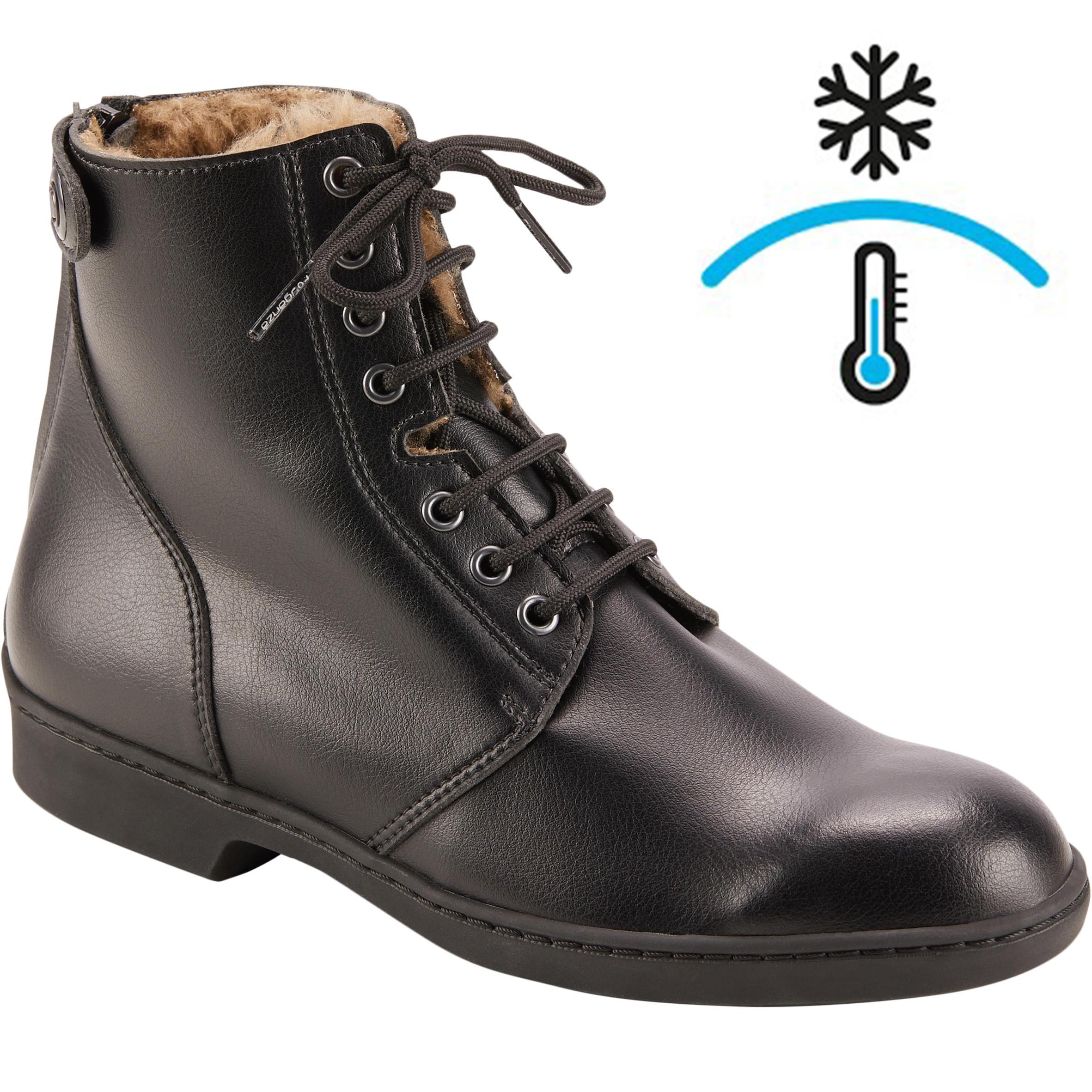 9c9a371bac6 Fouganza Warme jodhpurs met veters voor volwassenen 500 Warm zwart