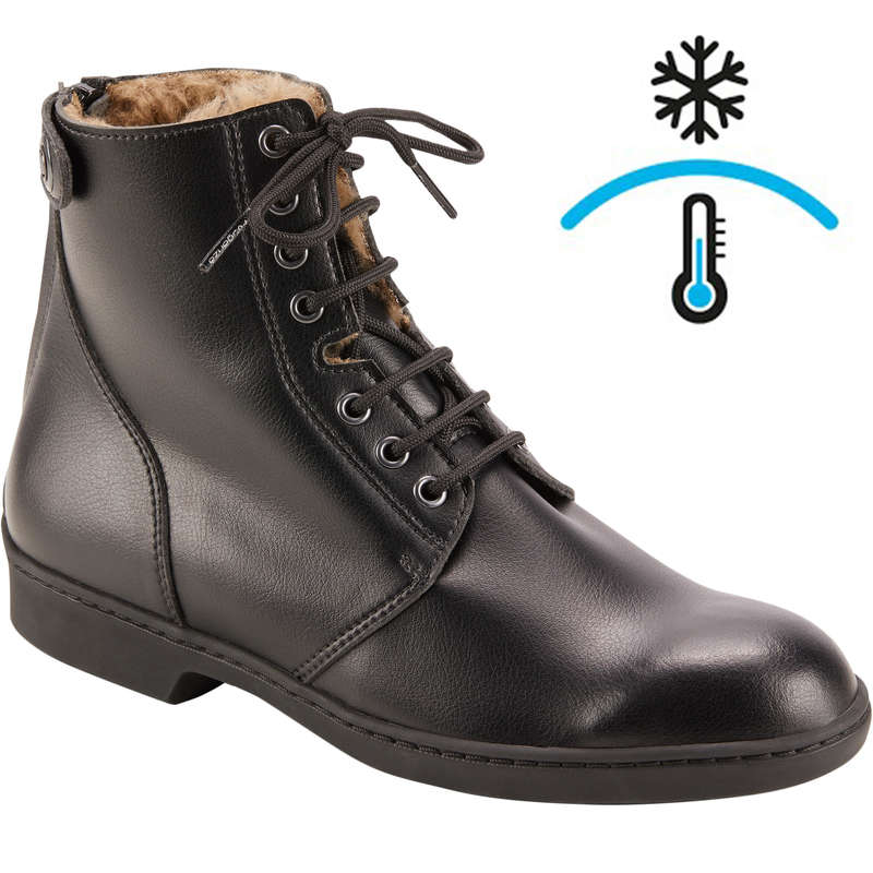 COLD WEATHER LONG RIDING BOOTS ADULT Horse Riding - 500 Warm Lace-Up Jodhpur Boots FOUGANZA - Horse Riding Footwear