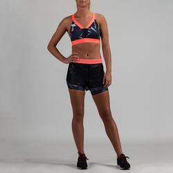 Pantalón Short Cardio Fitness Domyos 520 mujer azul marino coral