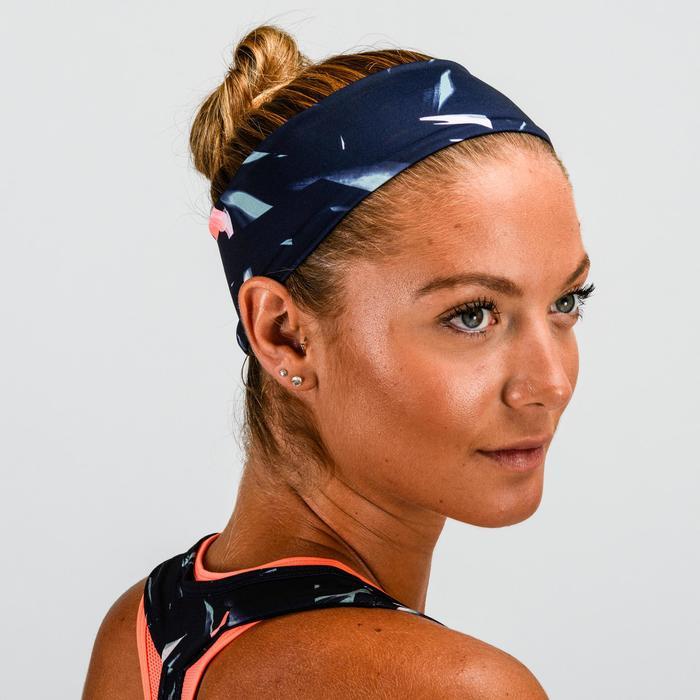 Fitness hoofdband cardiotraining voor dames roze en kakiblauw