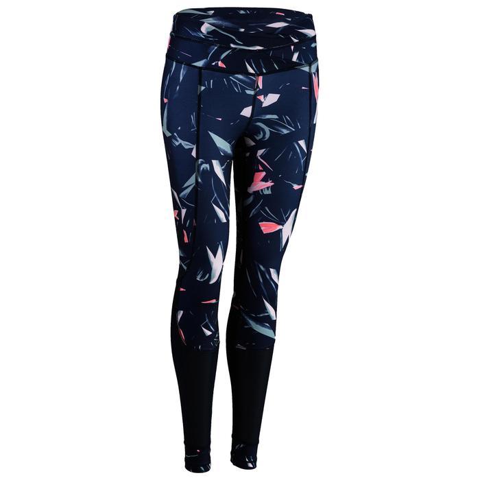 Fitness legging 520 voor dames, marineblauw/print