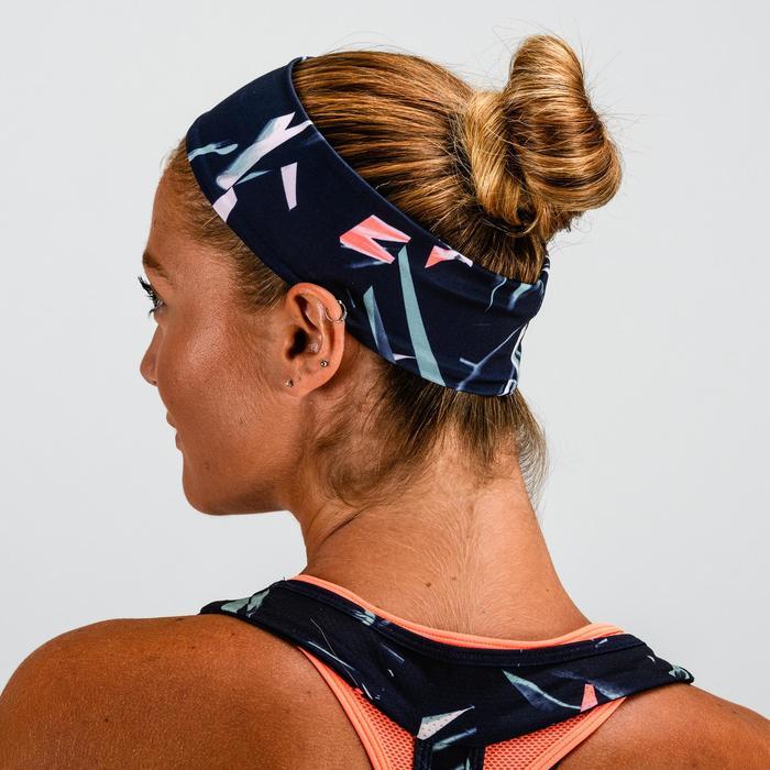 Cinta fitness cardio-training mujer estampado azul caqui y rosa